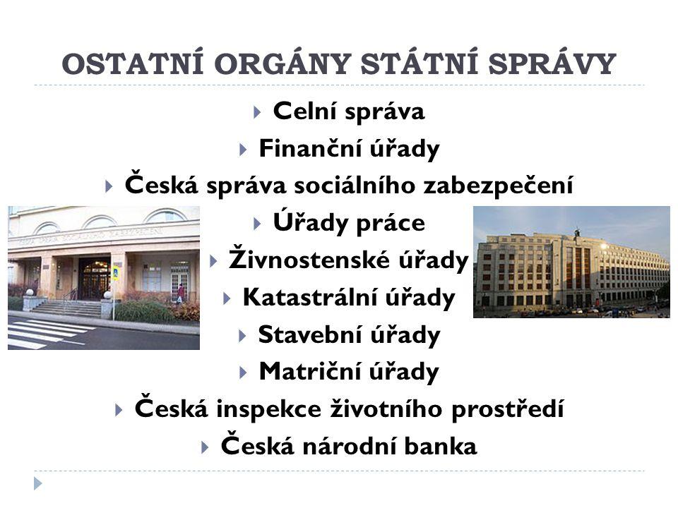 OSTATNÍ ORGÁNY STÁTNÍ SPRÁVY  Celní správa  Finanční úřady  Česká správa sociálního zabezpečení  Úřady práce  Živnostenské úřady  Katastrální úř