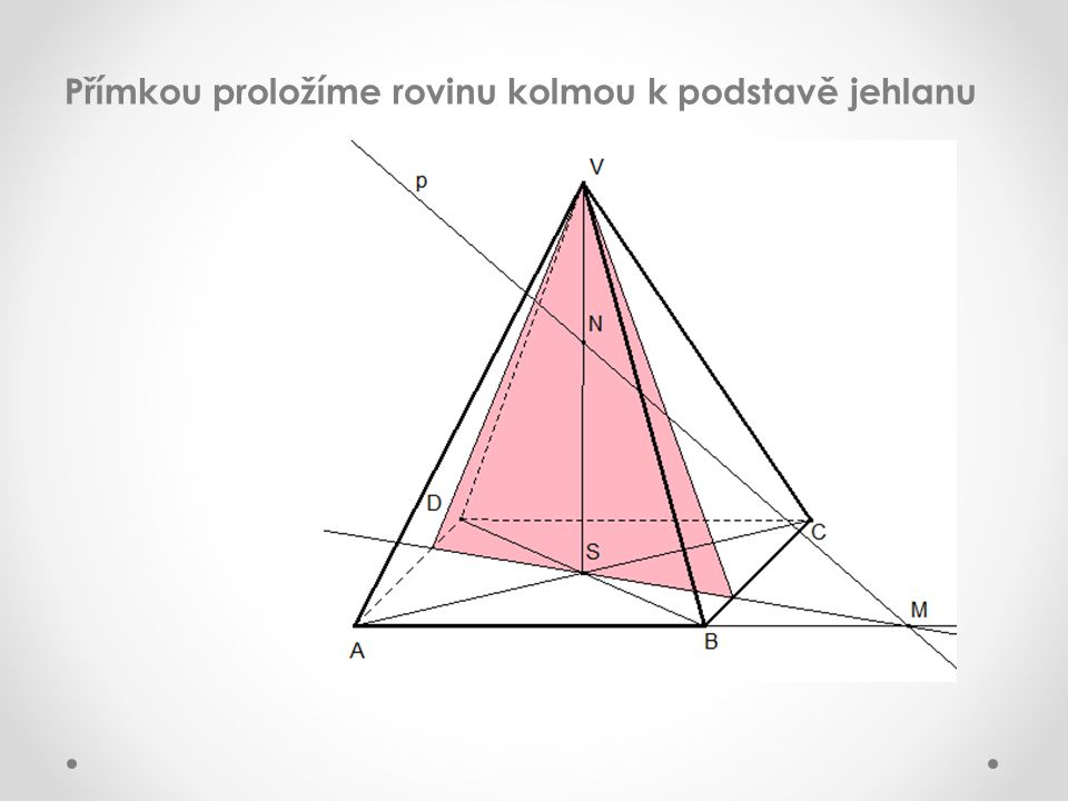 Přímkou proložíme rovinu kolmou k podstavě jehlanu
