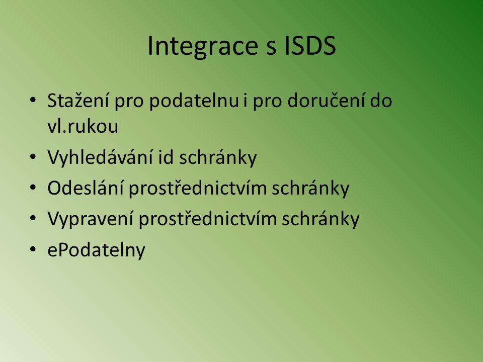 Integrace s ISDS • Stažení pro podatelnu i pro doručení do vl.rukou • Vyhledávání id schránky • Odeslání prostřednictvím schránky • Vypravení prostřednictvím schránky • ePodatelny