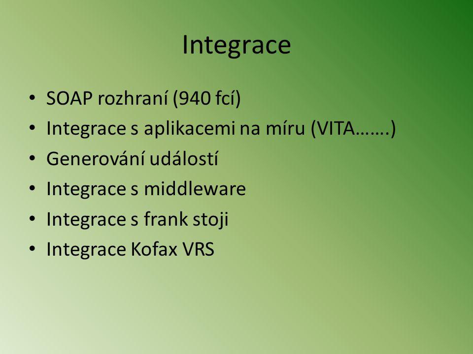 Integrace • SOAP rozhraní (940 fcí) • Integrace s aplikacemi na míru (VITA…….) • Generování událostí • Integrace s middleware • Integrace s frank stoji • Integrace Kofax VRS