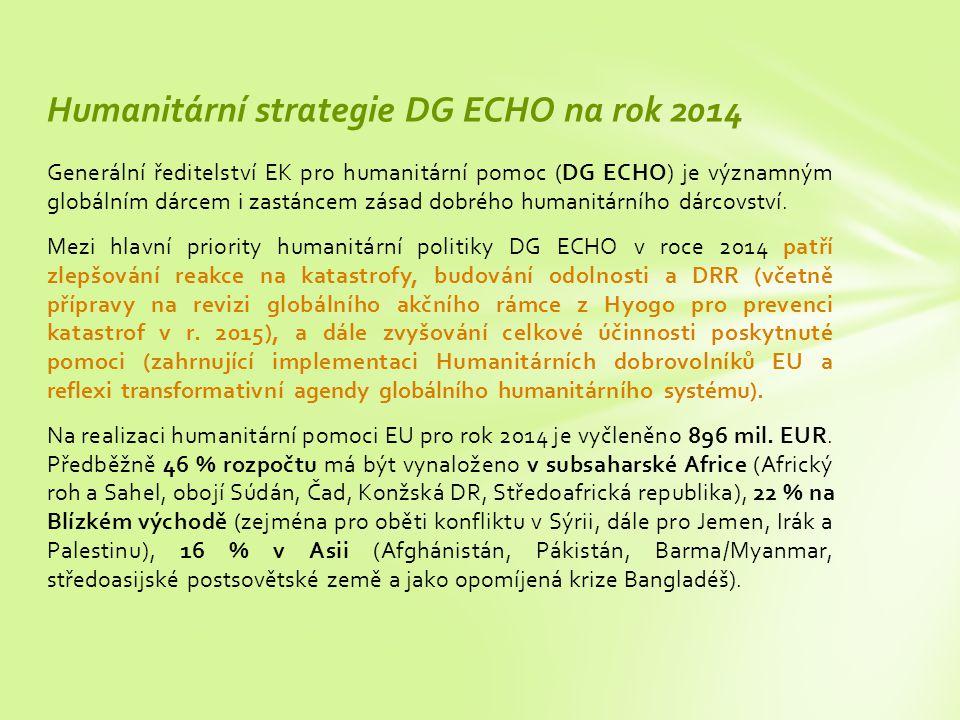 Generální ředitelství EK pro humanitární pomoc (DG ECHO) je významným globálním dárcem i zastáncem zásad dobrého humanitárního dárcovství.