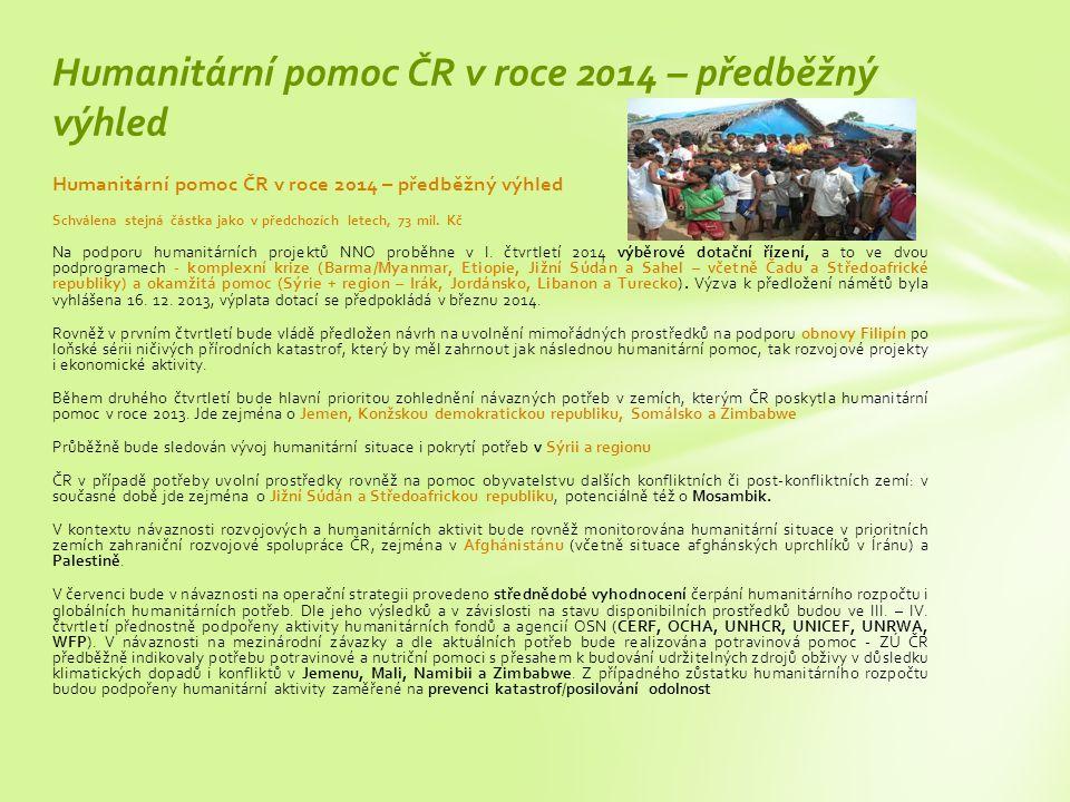 Humanitární pomoc ČR v roce 2014 – předběžný výhled Schválena stejná částka jako v předchozích letech, 73 mil.