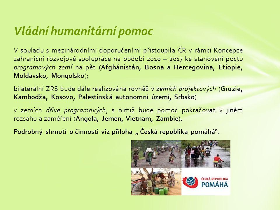 V souladu s mezinárodními doporučeními přistoupila ČR v rámci Koncepce zahraniční rozvojové spolupráce na období 2010 – 2017 ke stanovení počtu programových zemí na pět (Afghánistán, Bosna a Hercegovina, Etiopie, Moldavsko, Mongolsko); bilaterální ZRS bude dále realizována rovněž v zemích projektových (Gruzie, Kambodža, Kosovo, Palestinská autonomní území, Srbsko) v zemích dříve programových, s nimiž bude pomoc pokračovat v jiném rozsahu a zaměření (Angola, Jemen, Vietnam, Zambie).