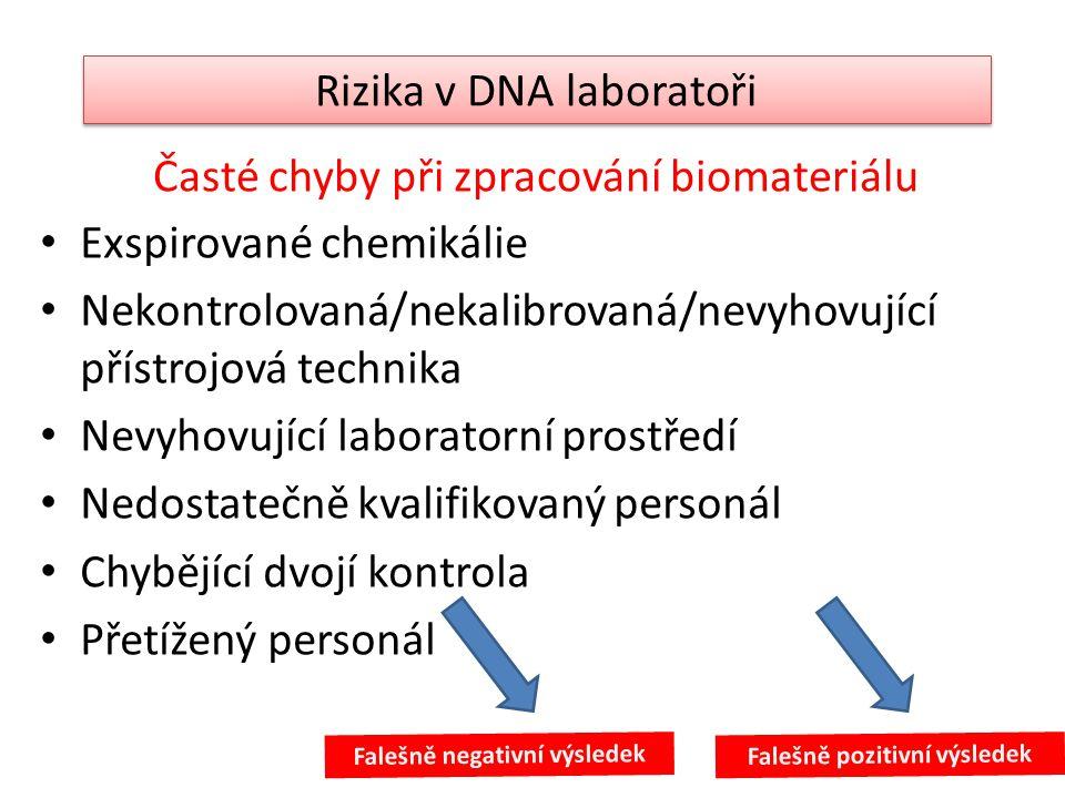 Časté chyby při zpracování biomateriálu • Exspirované chemikálie • Nekontrolovaná/nekalibrovaná/nevyhovující přístrojová technika • Nevyhovující labor