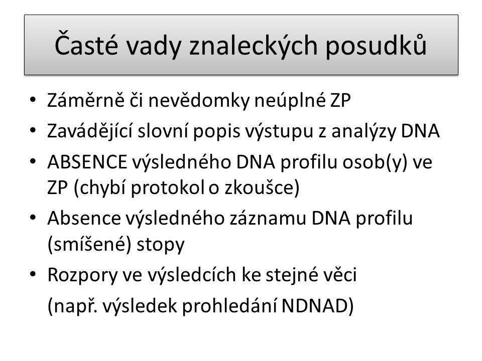 Časté vady znaleckých posudků • Záměrně či nevědomky neúplné ZP • Zavádějící slovní popis výstupu z analýzy DNA • ABSENCE výsledného DNA profilu osob(