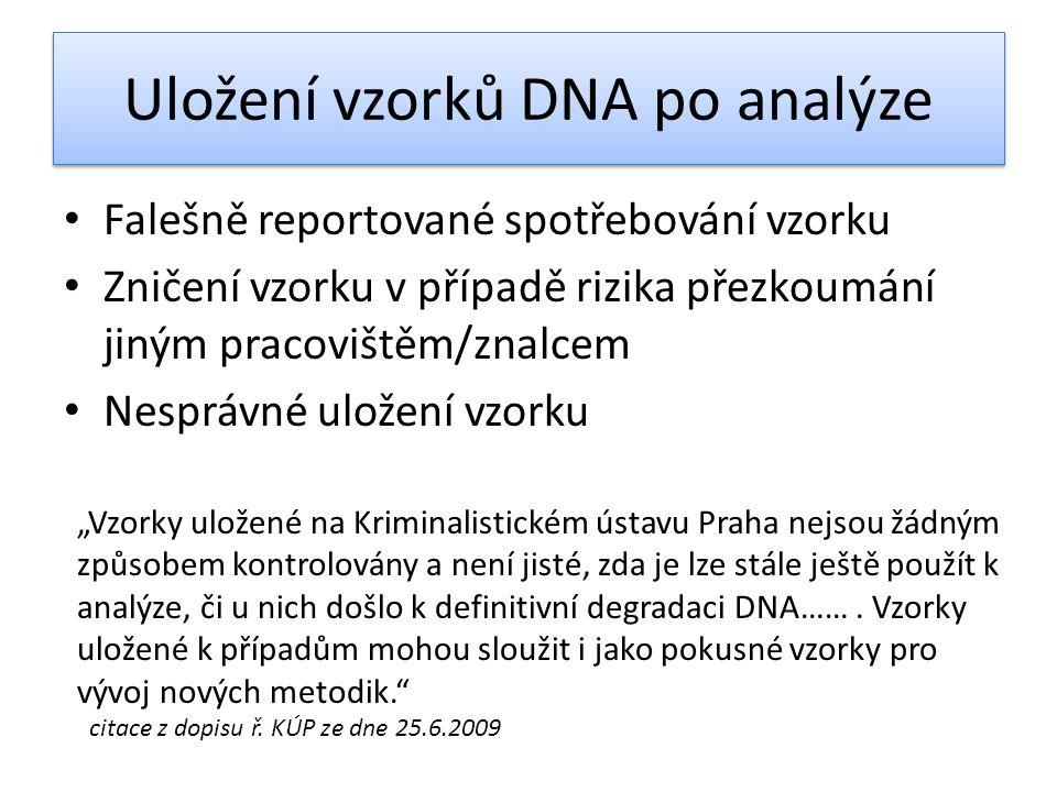 Uložení vzorků DNA po analýze • Falešně reportované spotřebování vzorku • Zničení vzorku v případě rizika přezkoumání jiným pracovištěm/znalcem • Nesp