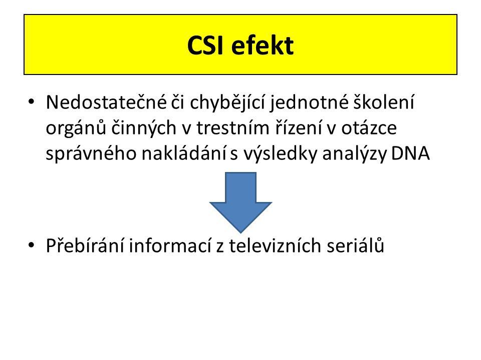 CSI efekt • Nedostatečné či chybějící jednotné školení orgánů činných v trestním řízení v otázce správného nakládání s výsledky analýzy DNA • Přebírán