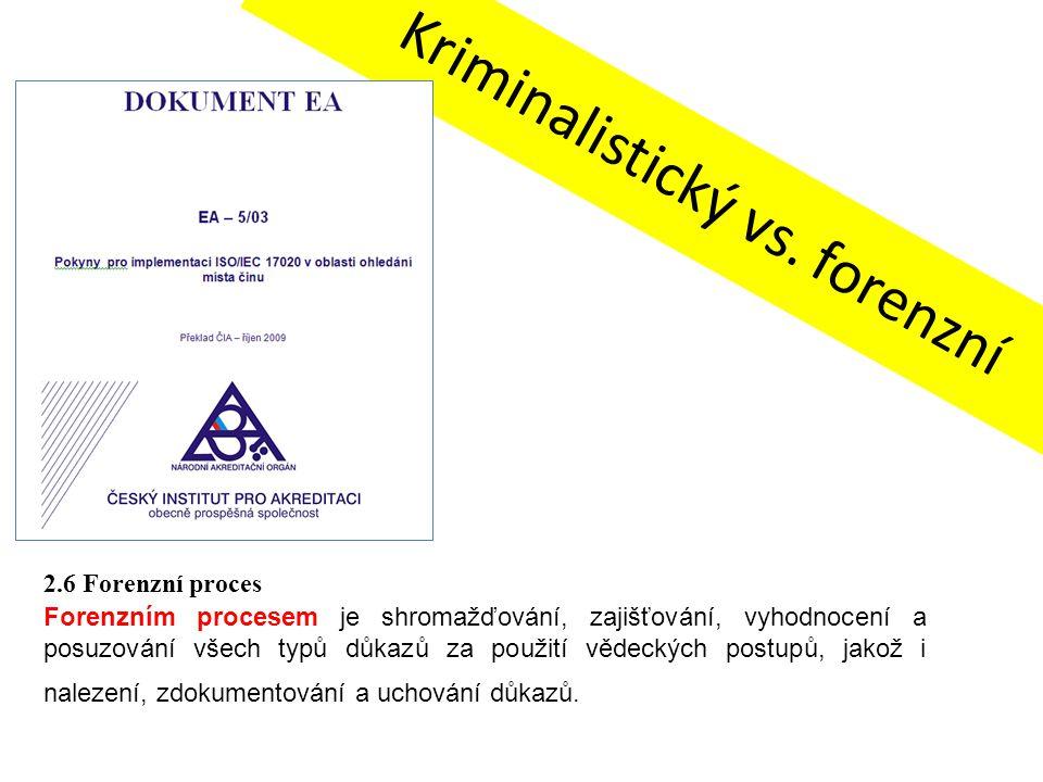 Kriminalistický vs. forenzní 2.6 Forenzní proces Forenzním procesem je shromažďování, zajišťování, vyhodnocení a posuzování všech typů důkazů za použi