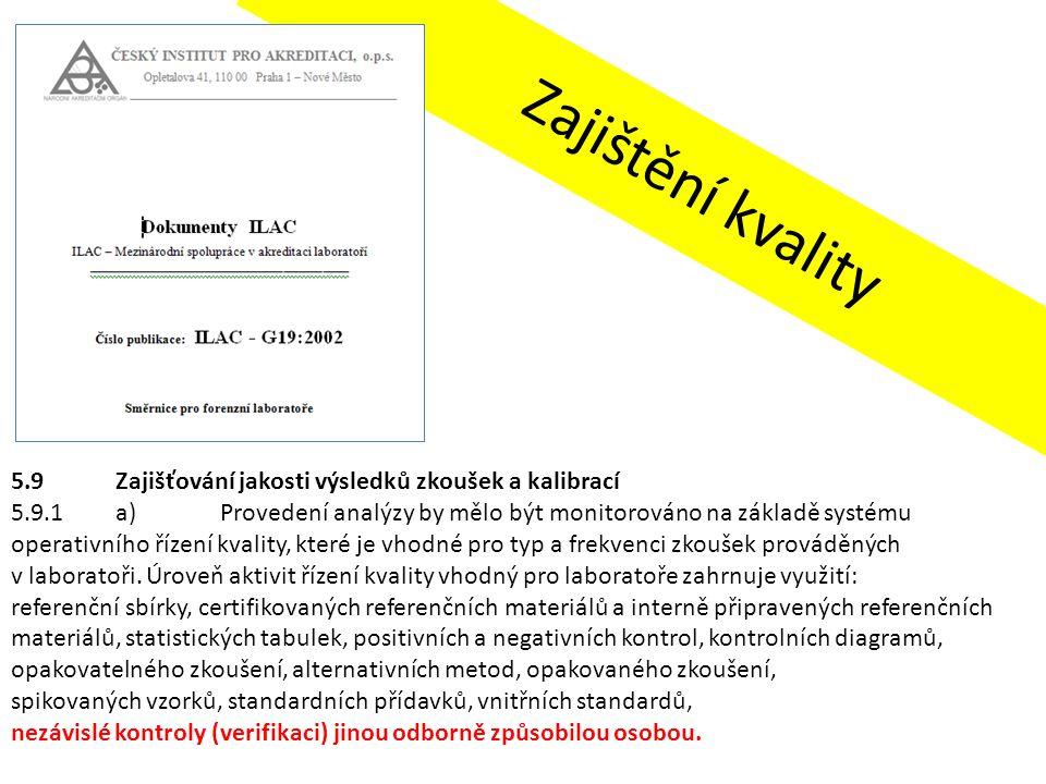 Zajištění kvality 5.9Zajišťování jakosti výsledků zkoušek a kalibrací 5.9.1a)Provedení analýzy by mělo být monitorováno na základě systému operativníh
