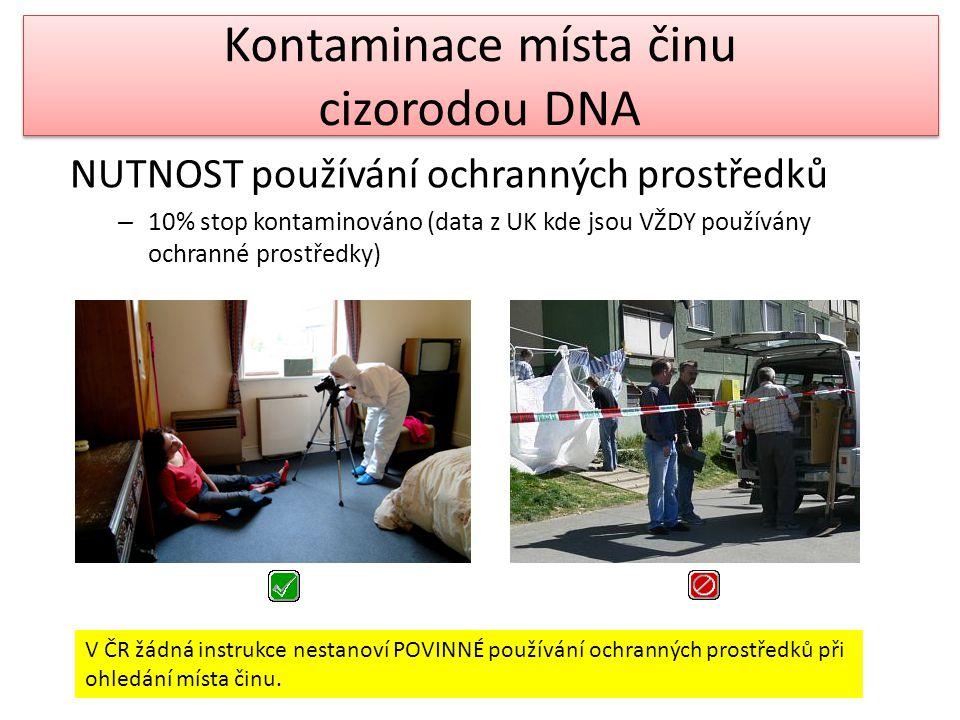 Kontaminace místa činu cizorodou DNA NUTNOST používání ochranných prostředků – 10% stop kontaminováno (data z UK kde jsou VŽDY používány ochranné pros
