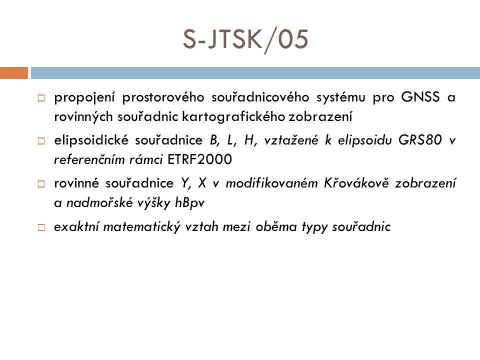 S-JTSK/05  propojení prostorového souřadnicového systému pro GNSS a rovinných souřadnic kartografického zobrazení  elipsoidické souřadnice B, L, H, vztažené k elipsoidu GRS80 v referenčním rámci ETRF2000  rovinné souřadnice Y, X v modifikovaném Křovákově zobrazení a nadmořské výšky hBpv  exaktní matematický vztah mezi oběma typy souřadnic