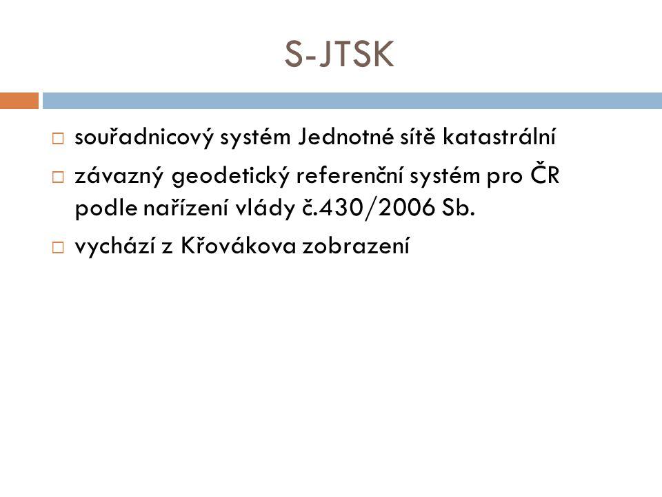 S-JTSK  souřadnicový systém Jednotné sítě katastrální  závazný geodetický referenční systém pro ČR podle nařízení vlády č.430/2006 Sb.