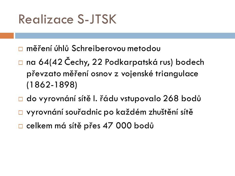 Realizace S-JTSK  měření úhlů Schreiberovou metodou  na 64(42 Čechy, 22 Podkarpatská rus) bodech převzato měření osnov z vojenské triangulace (1862-1898)  do vyrovnání sítě I.