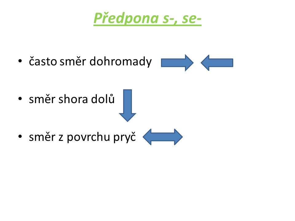 Předpona s-, se- • často směr dohromady • směr shora dolů • směr z povrchu pryč