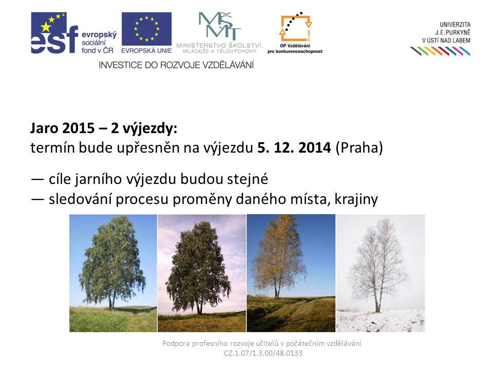 Jaro 2015 – 2 výjezdy: termín bude upřesněn na výjezdu 5. 12. 2014 (Praha) — cíle jarního výjezdu budou stejné — sledování procesu proměny daného míst