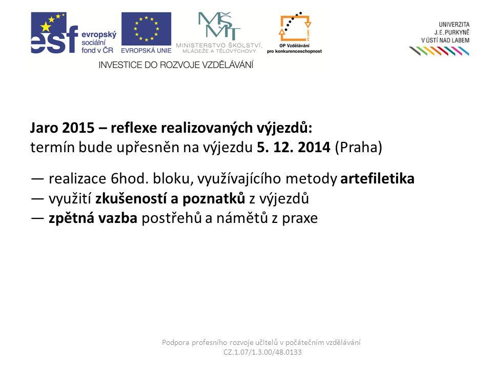 Jaro 2015 – reflexe realizovaných výjezdů: termín bude upřesněn na výjezdu 5. 12. 2014 (Praha) — realizace 6hod. bloku, využívajícího metody artefilet