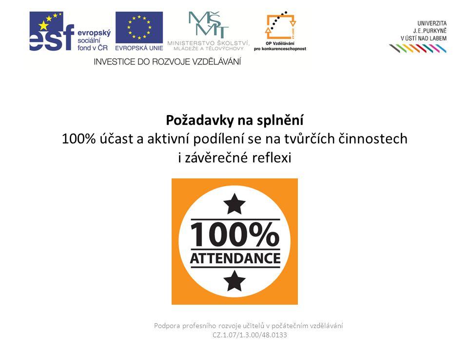 Požadavky na splnění 100% účast a aktivní podílení se na tvůrčích činnostech i závěrečné reflexi Podpora profesního rozvoje učitelů v počátečním vzděl