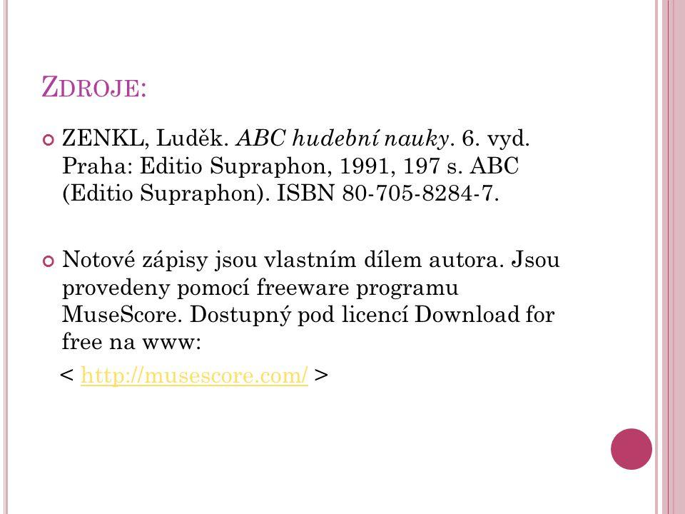 Z DROJE : ZENKL, Luděk.ABC hudební nauky. 6. vyd.