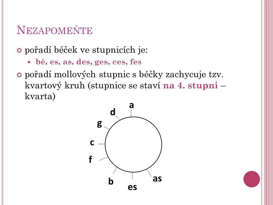 N EZAPOMEŇTE pořadí béček ve stupnicích je:  bé, es, as, des, ges, ces, fes pořadí mollových stupnic s béčky zachycuje tzv.