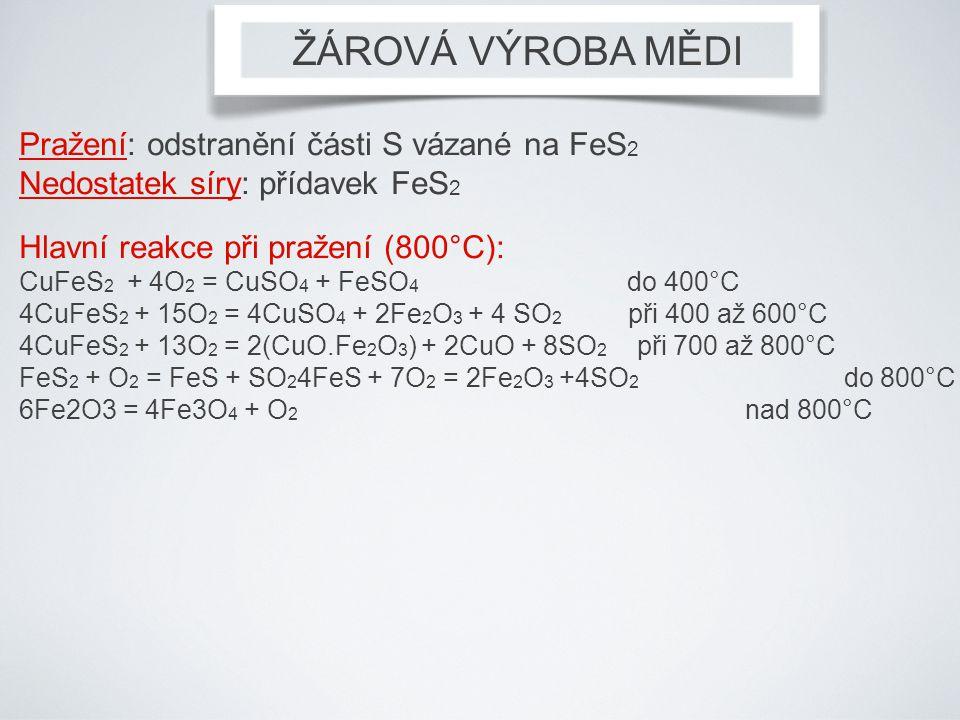 Pražení: odstranění části S vázané na FeS 2 Nedostatek síry: přídavek FeS 2 Hlavní reakce při pražení (800°C): CuFeS 2 + 4O 2 = CuSO 4 + FeSO 4 do 400