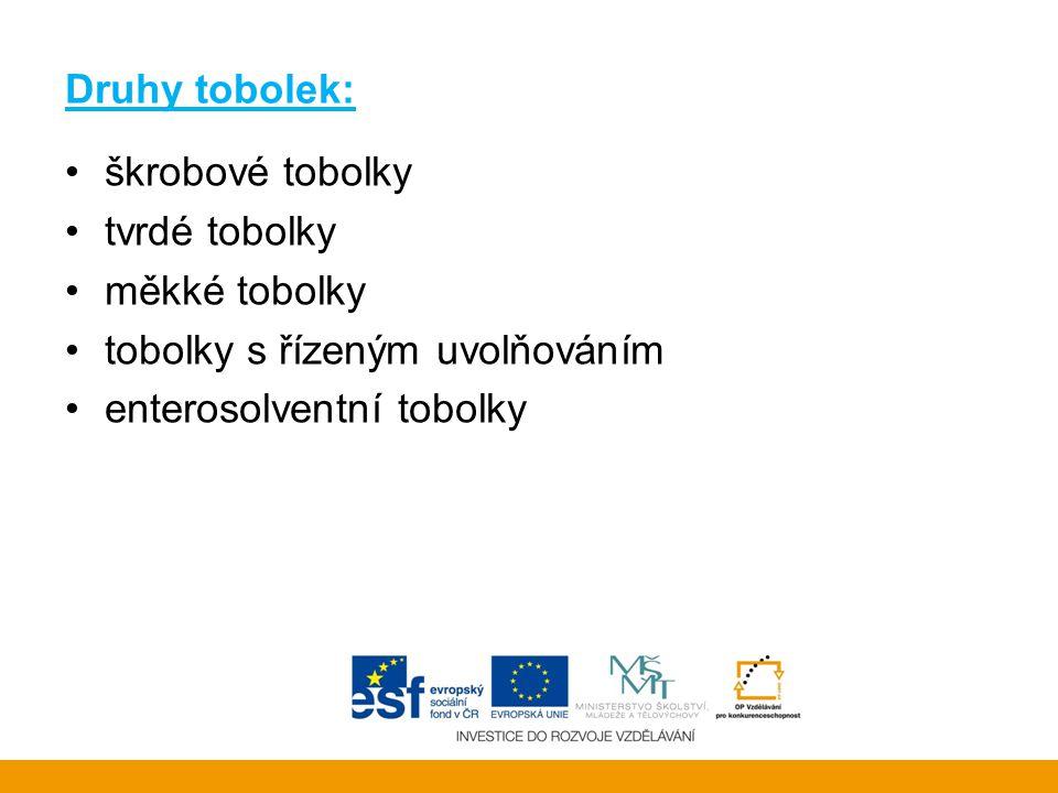 Druhy tobolek: •škrobové tobolky •tvrdé tobolky •měkké tobolky •tobolky s řízeným uvolňováním •enterosolventní tobolky