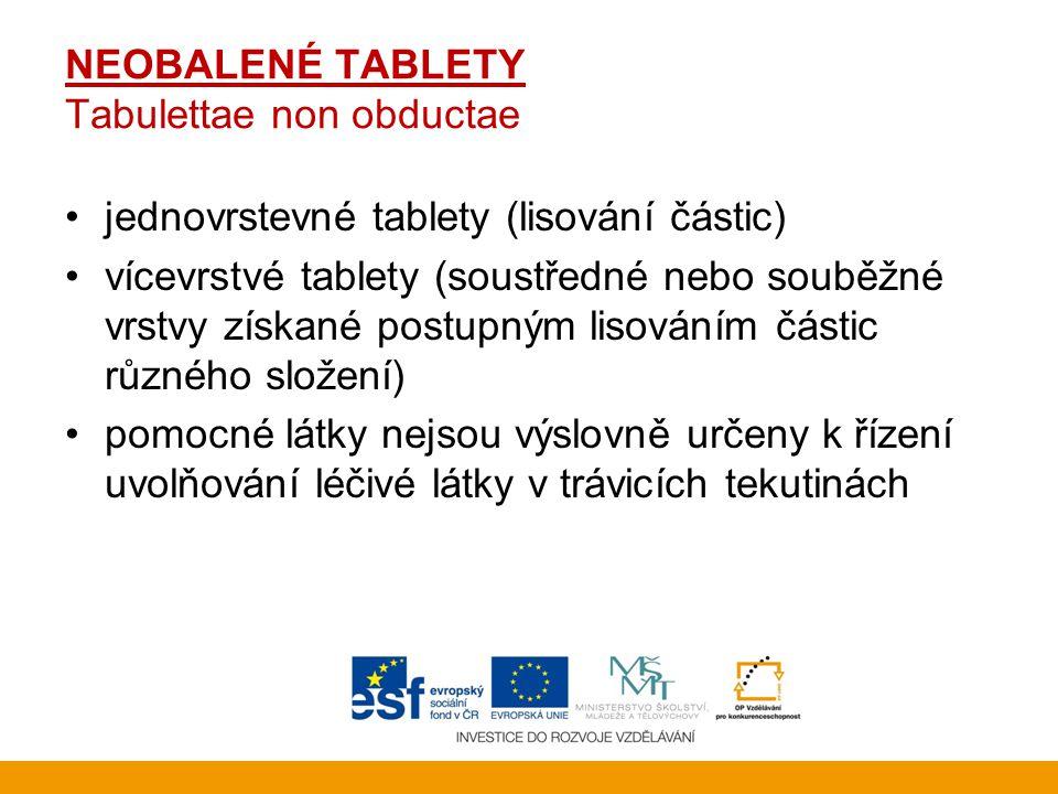 NEOBALENÉ TABLETY Tabulettae non obductae •jednovrstevné tablety (lisování částic) •vícevrstvé tablety (soustředné nebo souběžné vrstvy získané postup