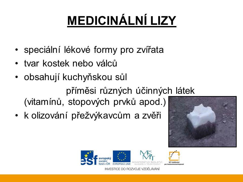 MEDICINÁLNÍ LIZY •speciální lékové formy pro zvířata •tvar kostek nebo válců •obsahují kuchyňskou sůl příměsi různých účinných látek (vitamínů, stopov