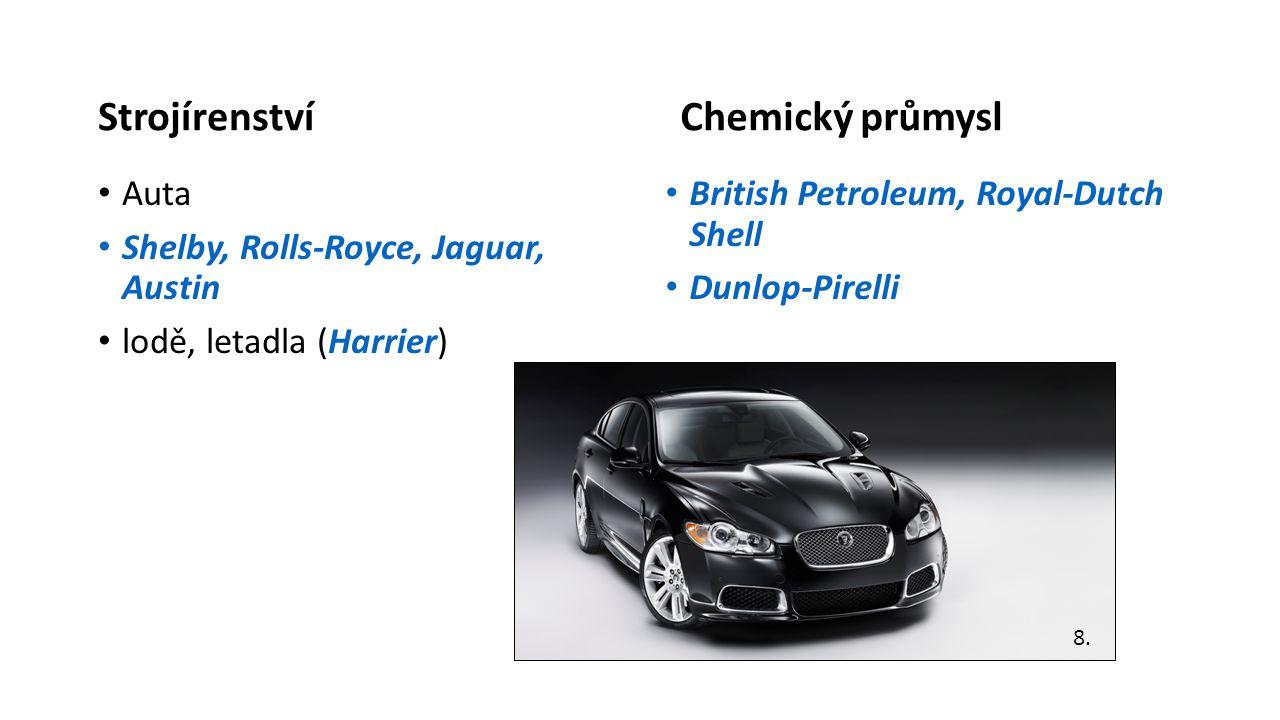 Strojírenství • Auta • Shelby, Rolls-Royce, Jaguar, Austin • lodě, letadla (Harrier) Chemický průmysl • British Petroleum, Royal-Dutch Shell • Dunlop-