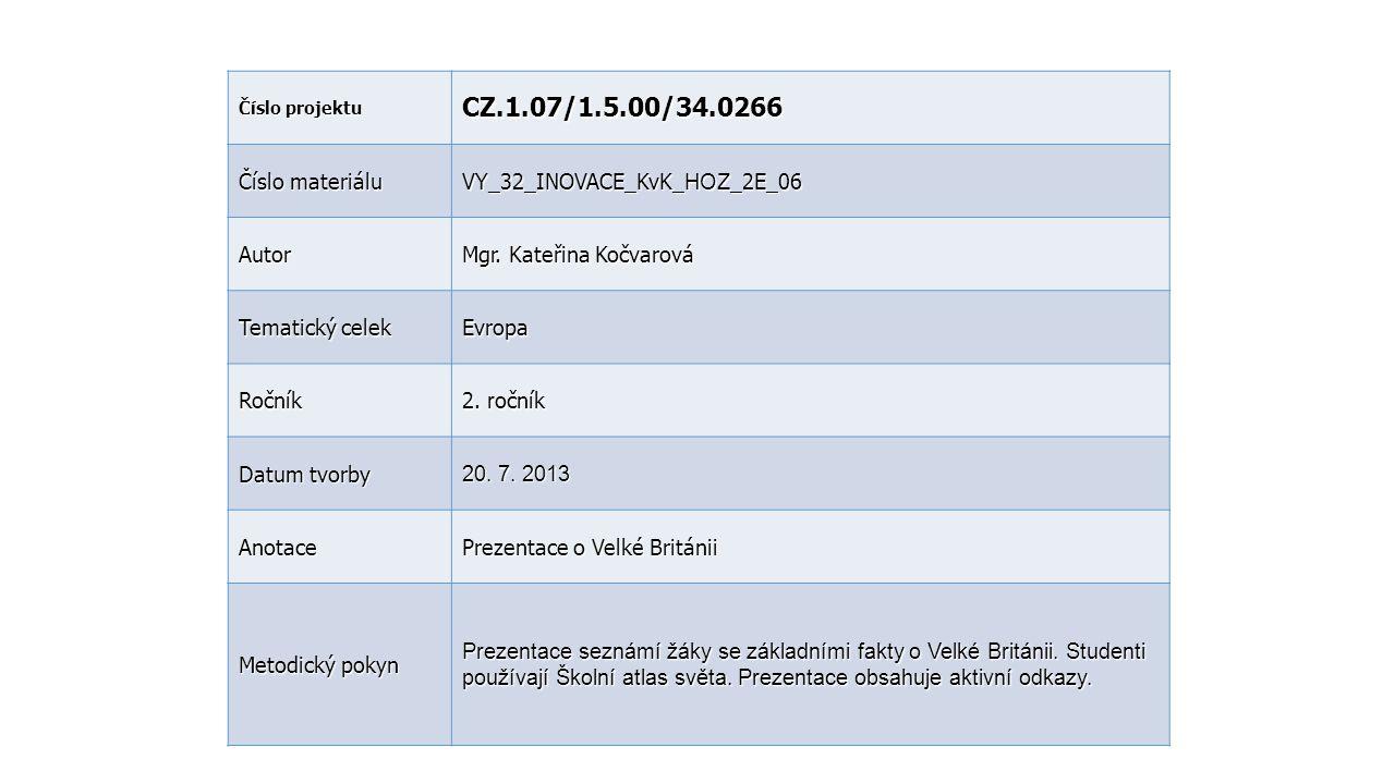 Číslo projektu CZ.1.07/1.5.00/34.0266 Číslo materiálu VY_32_INOVACE_KvK_ HOZ _2E_06 Autor Mgr. Kateřina Kočvarová Tematický celek Evropa Ročník 2. r o