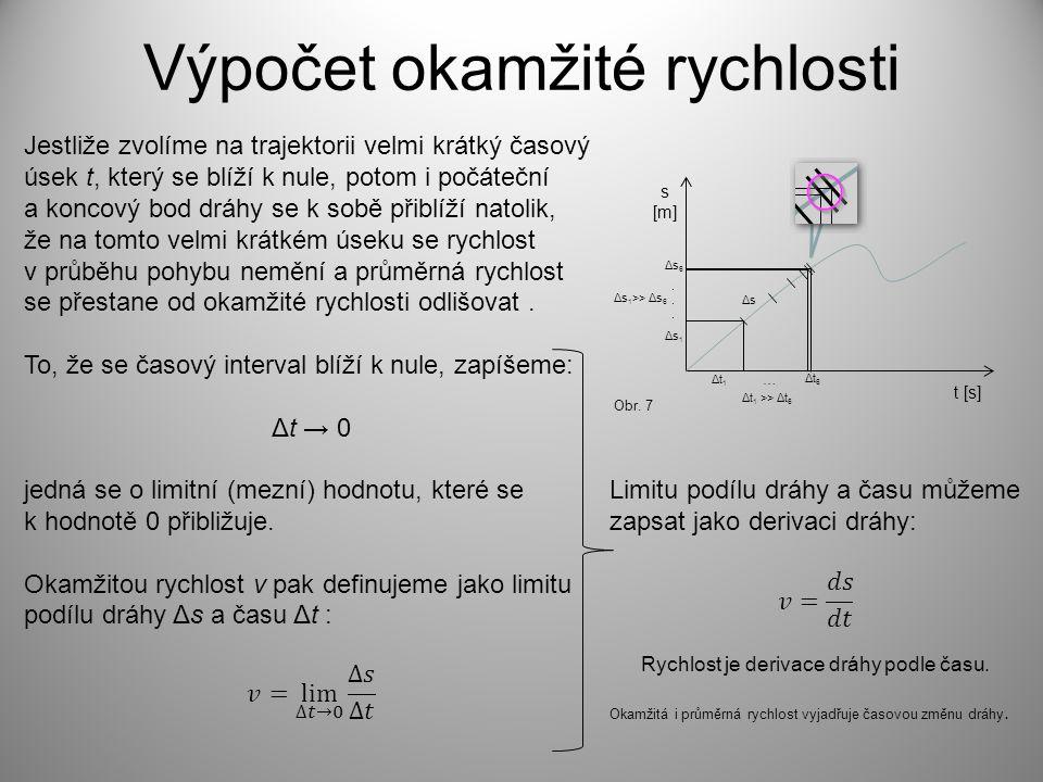 Výpočet okamžité rychlosti s [m] t [s] Δs1Δs1 Δs6Δs6 Δt1Δt1 Δt6Δt6 …...... Δt 1 >> Δt 6 Δs 1 >> Δs 6 ΔsΔs Obr. 7