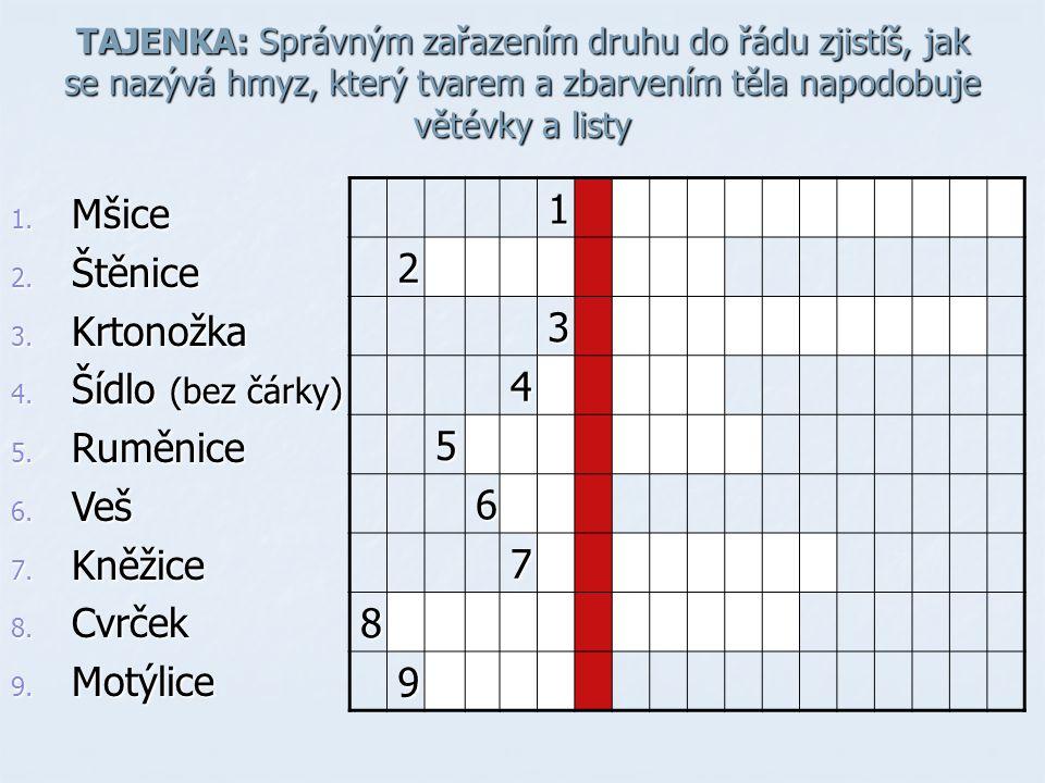 TAJENKA: Správným zařazením druhu do řádu zjistíš, jak se nazývá hmyz, který tvarem a zbarvením těla napodobuje větévky a listy 1. Mšice 2. Štěnice 3.