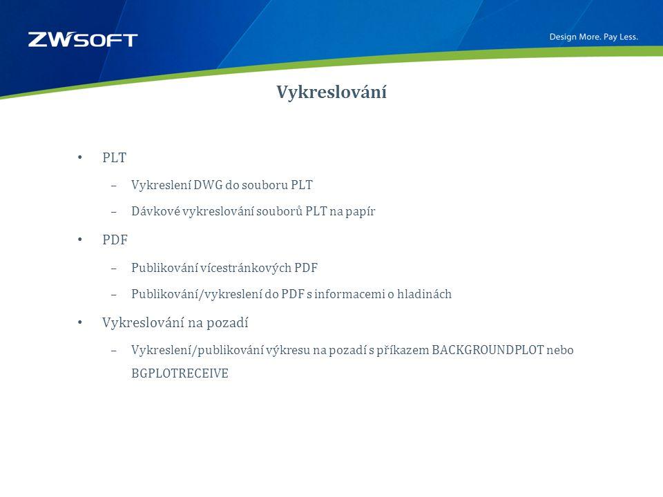 Vykreslování • PLT –Vykreslení DWG do souboru PLT –Dávkové vykreslování souborů PLT na papír • PDF –Publikování vícestránkových PDF –Publikování/vykreslení do PDF s informacemi o hladinách • Vykreslování na pozadí –Vykreslení/publikování výkresu na pozadí s příkazem BACKGROUNDPLOT nebo BGPLOTRECEIVE