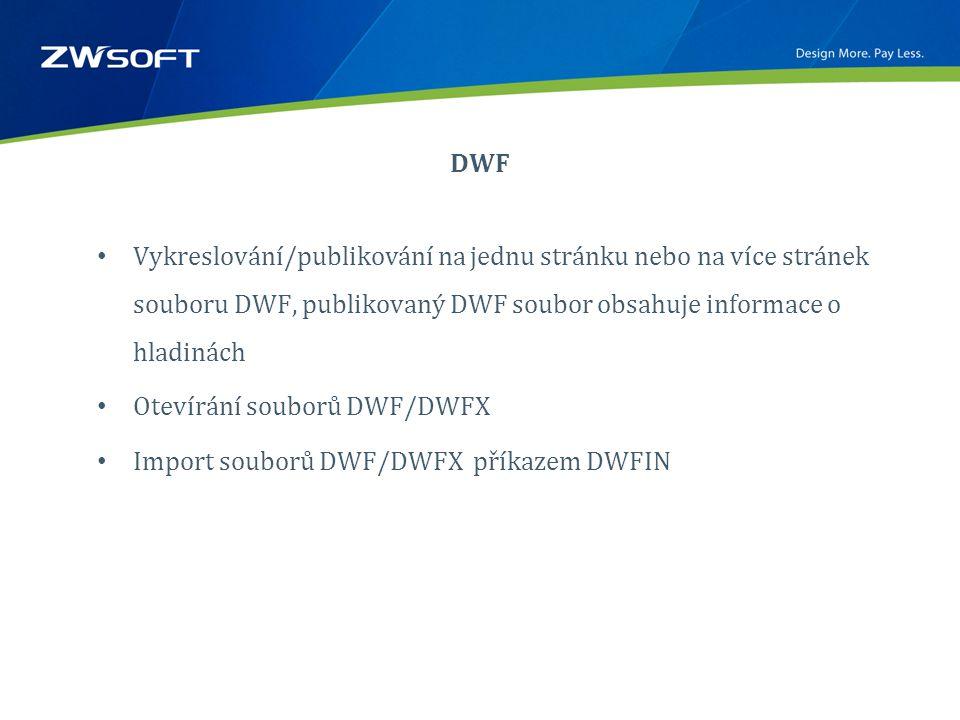 DWF • Vykreslování/publikování na jednu stránku nebo na více stránek souboru DWF, publikovaný DWF soubor obsahuje informace o hladinách • Otevírání souborů DWF/DWFX • Import souborů DWF/DWFX příkazem DWFIN