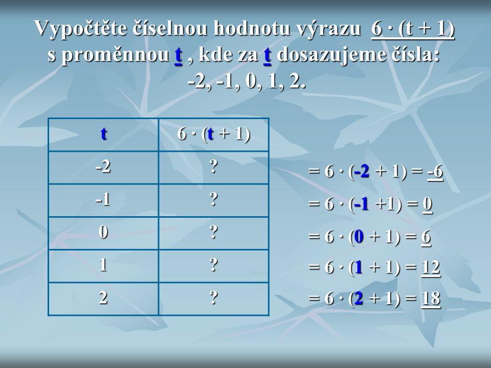 Vypočtěte číselnou hodnotu výrazu 6 ∙ (t + 1) s proměnnou t, kde za t dosazujeme čísla: -2, -1, 0, 1, 2. t 6 ∙ (t + 1) -2?? 0? 1? 2? = 6 ∙ (-2 + 1) =