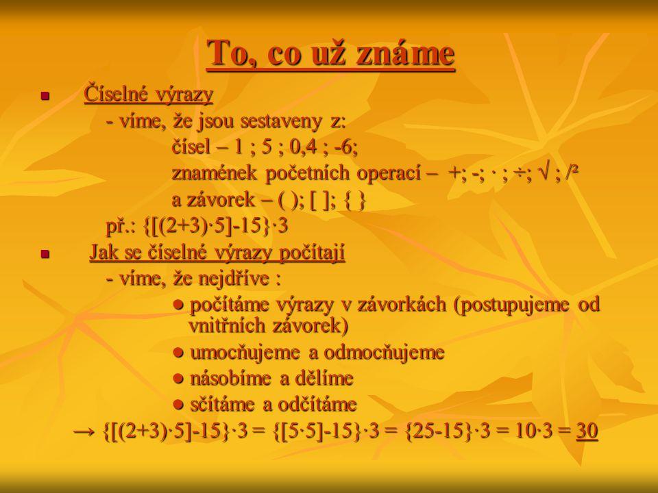 To, co už známe  Číselné výrazy - víme, že jsou sestaveny z: čísel – 1 ; 5 ; 0,4 ; -6; znamének početních operací – +; -; · ; ÷; √ ; /² a závorek – (