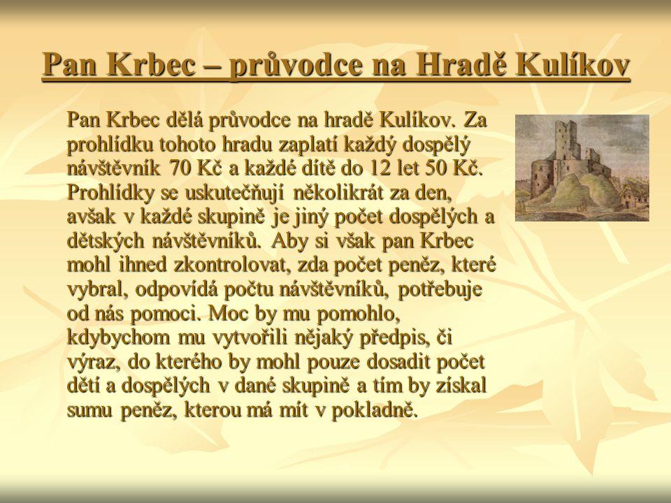 Pan Krbec – průvodce na Hradě Kulíkov Pan Krbec dělá průvodce na hradě Kulíkov. Za prohlídku tohoto hradu zaplatí každý dospělý návštěvník 70 Kč a kaž