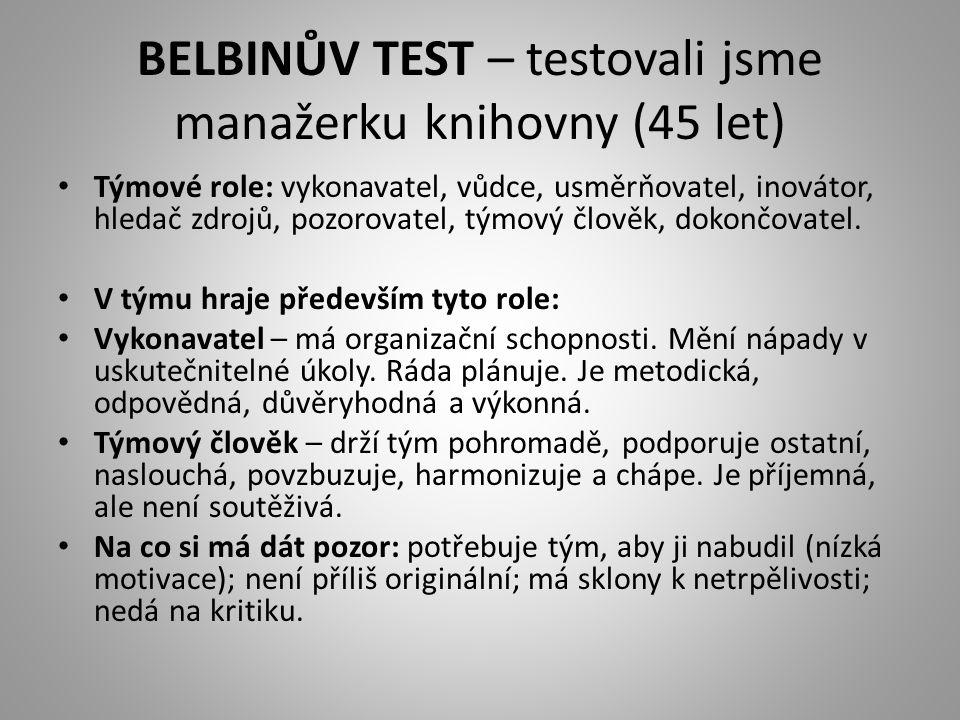 BELBINŮV TEST – testovali jsme manažerku knihovny (45 let) • Týmové role: vykonavatel, vůdce, usměrňovatel, inovátor, hledač zdrojů, pozorovatel, týmo