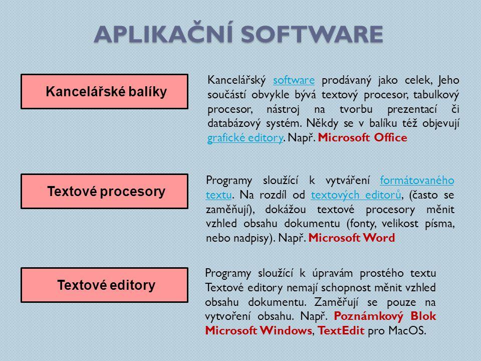 APLIKAČNÍ SOFTWARE Kancelářské balíky Kancelářský software prodávaný jako celek, Jeho součástí obvykle bývá textový procesor, tabulkový procesor, nást