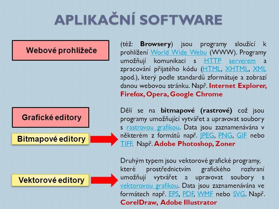 APLIKAČNÍ SOFTWARE Webové prohlížeče (též: Browsery) jsou programy sloužící k prohlížení World Wide Webu (WWW). Programy umožňují komunikaci s HTTP se