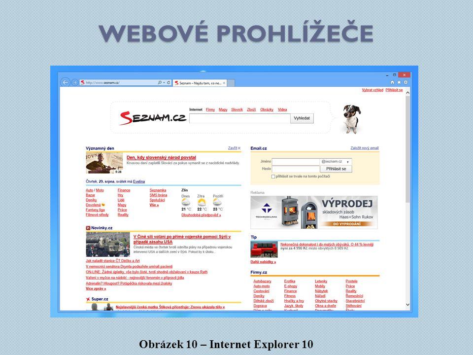 WEBOVÉ PROHLÍŽEČE WEBOVÉ PROHLÍŽEČE Obrázek 10 – Internet Explorer 10