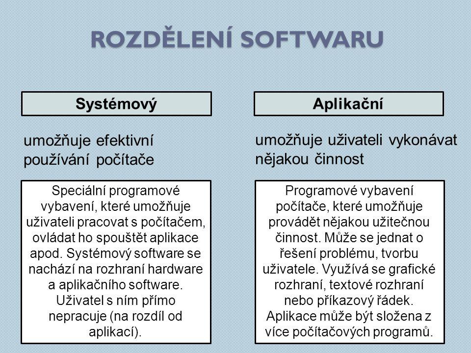 ROZDĚLENÍ SOFTWARU SystémovýAplikační umožňuje efektivní používání počítače umožňuje uživateli vykonávat nějakou činnost Speciální programové vybavení