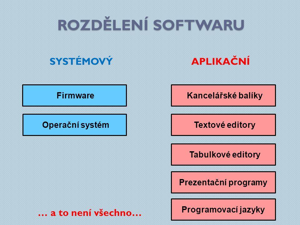 ROZDĚLENÍ SOFTWARU APLIKAČNÍ SOFTWARE Databázové systémyGrafické programy Pomocné programyWebové prohlížeče Hry Výukové programyAntivirové programy Přehrávače zvuku a videa