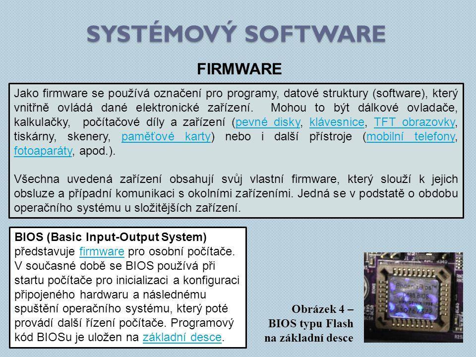SYSTÉMOVÝ SOFTWARE FIRMWARE Obrázek 4 – BIOS typu Flash na základní desce Jako firmware se používá označení pro programy, datové struktury (software),