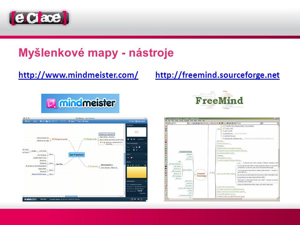 Myšlenkové mapy - nástroje http://www.mindmeister.com/ http://freemind.sourceforge.net
