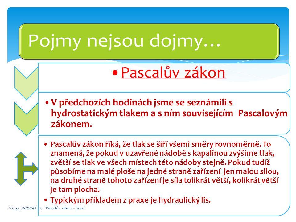 •Pascalův zákon •V předchozích hodinách jsme se seznámili s hydrostatickým tlakem a s ním souvisejícím Pascalovým zákonem. •Pascalův zákon říká, že tl