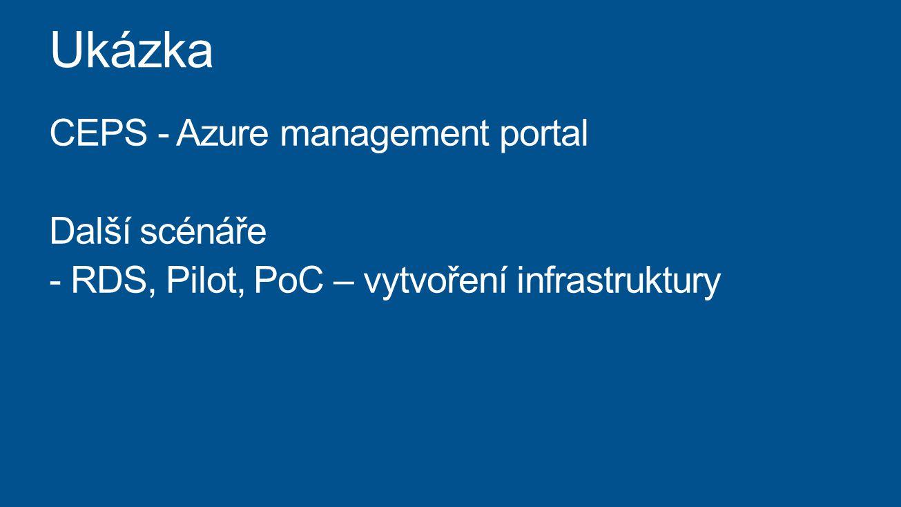 CEPS - Azure management portal Další scénáře - RDS, Pilot, PoC – vytvoření infrastruktury