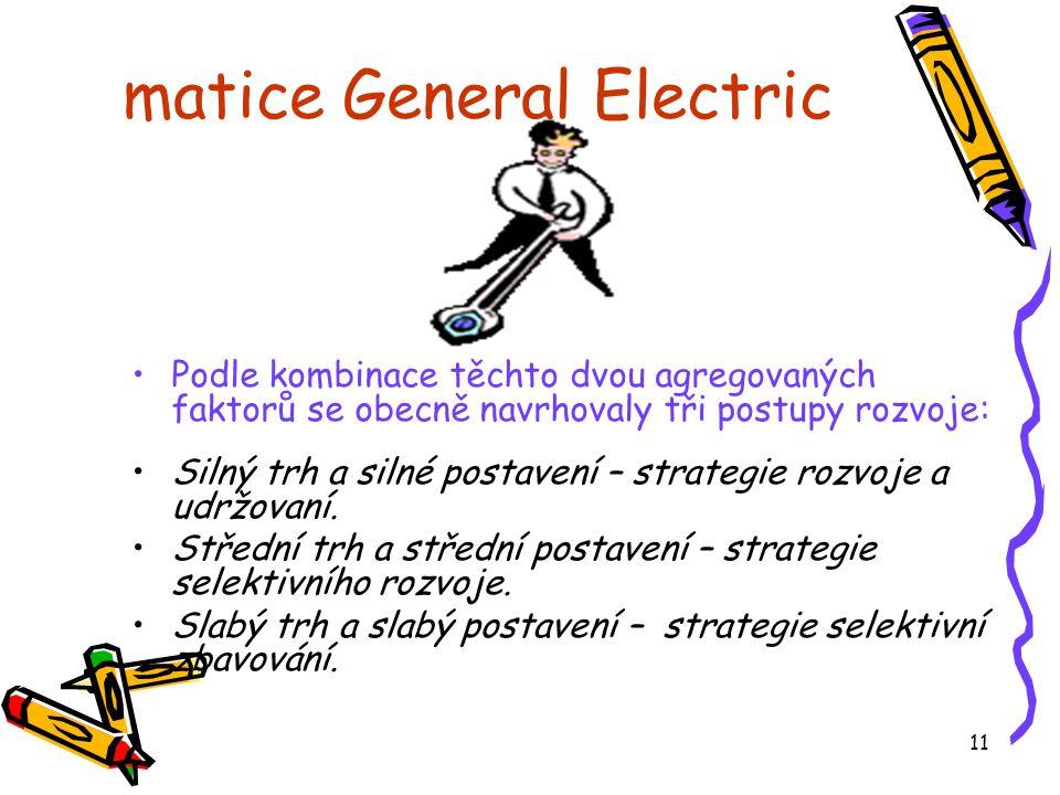 11 matice General Electric •Podle kombinace těchto dvou agregovaných faktorů se obecně navrhovaly tři postupy rozvoje: •Silný trh a silné postavení – strategie rozvoje a udržovaní.