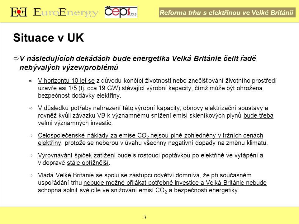 Reforma trhu s elektřinou ve Velké Británii 4 Situace v UK  Politika britské vlády v oblasti energetiky a ochrany klimatu pro následující roky a desetiletí stanovuje náročné cíle:  Redukce emisí CO 2 o 80 % do roku 2050 (oproti roku 1990)  Redukce emisí CO 2 o 50 % do roku 2025 (oproti roku 1990)  15% podíl obnovitelných zdrojů energie (OZE) na primární energii do roku 2020  Domy s nulovými emisemi uhlíku do roku 2016  Systémy inteligentního měření v každé domácnosti do roku 2020  Bezodpadová ekonomika  Základní cíl VB v oblasti klimatu, tj.