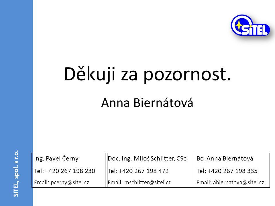 Ing. Pavel Černý Tel: +420 267 198 230 Email: pcerny@sitel.cz Děkuji za pozornost. Anna Biernátová Doc. Ing. Miloš Schlitter, CSc. Tel: +420 267 198 4