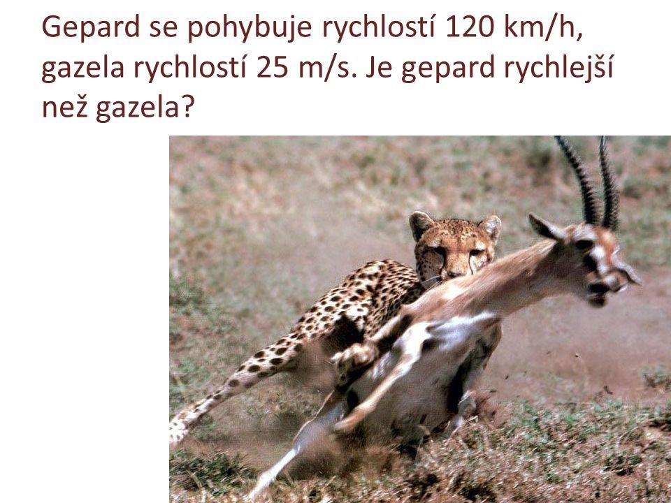 Gepard se pohybuje rychlostí 120 km/h, gazela rychlostí 25 m/s. Je gepard rychlejší než gazela?
